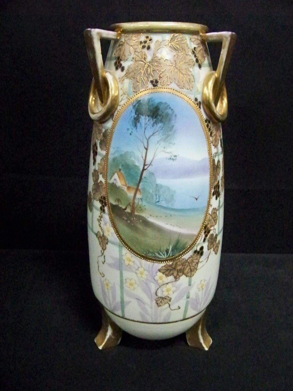 Lovely and Large Hand Painted Nippon Vase