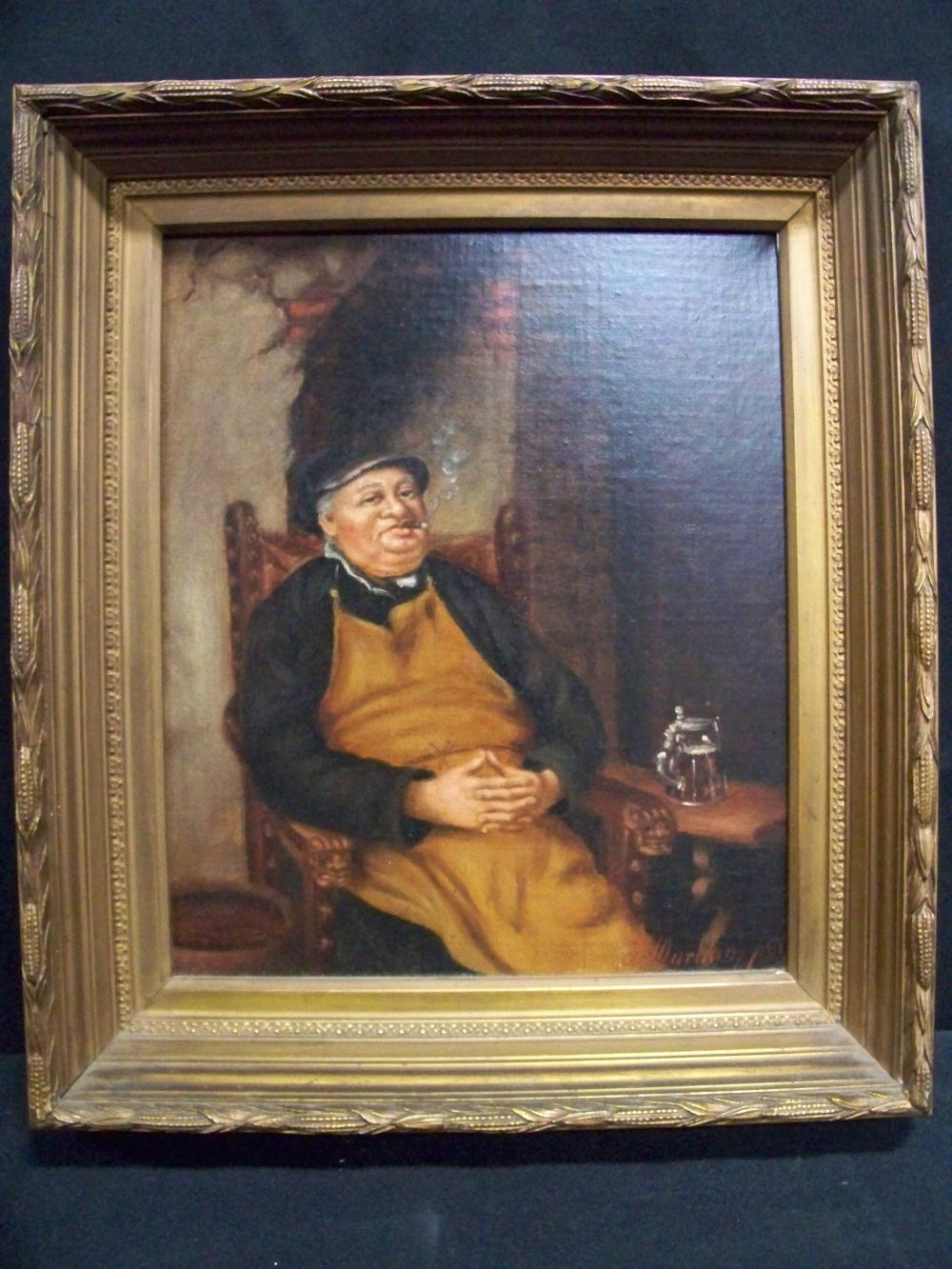 Signed 19th c. Oil on Board of Man in Apron
