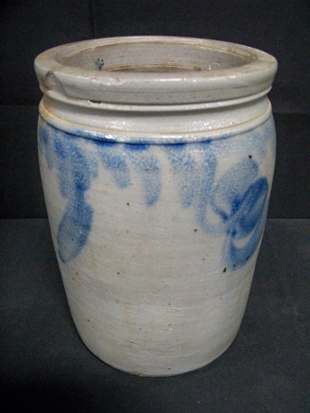 Antique Stoneware Crock with Blue Decoration