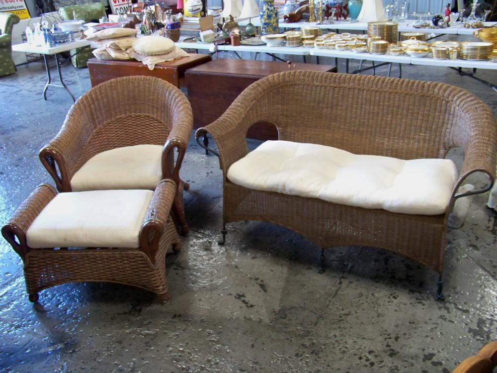 Three Piece Set of Wicker Furniture