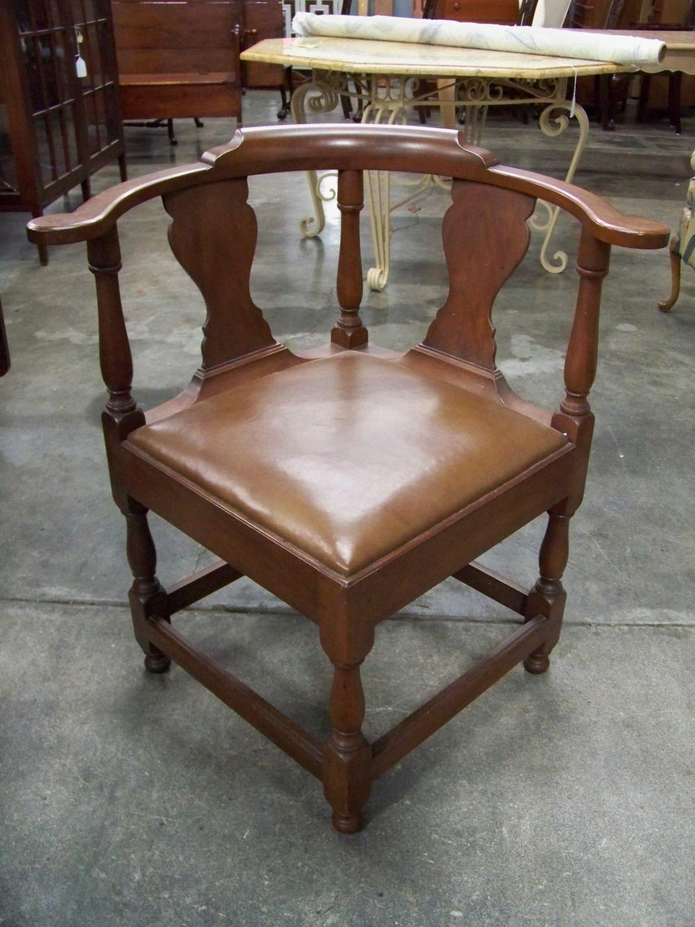 Vintage Mahogany Corner Chair with Leather Seat