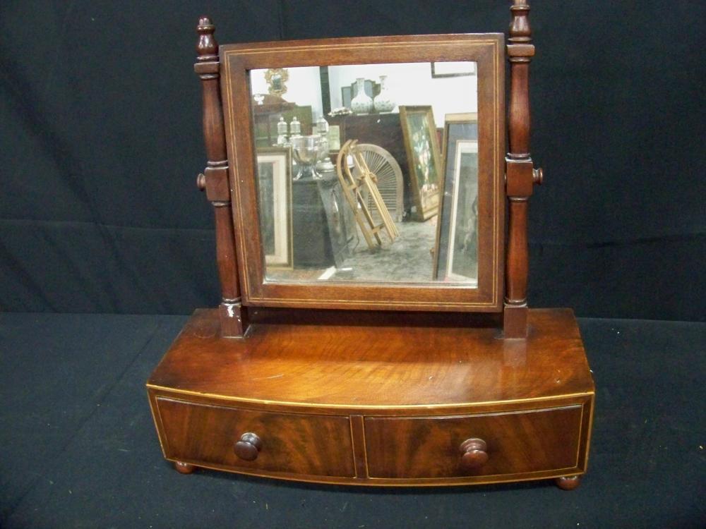 Antique Mahogany Shaving Mirror with Inlay