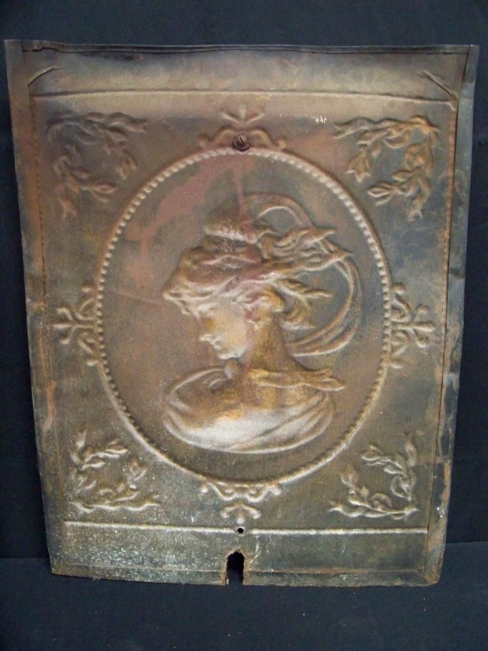 Antique Tin and Copper Fireplace Cover