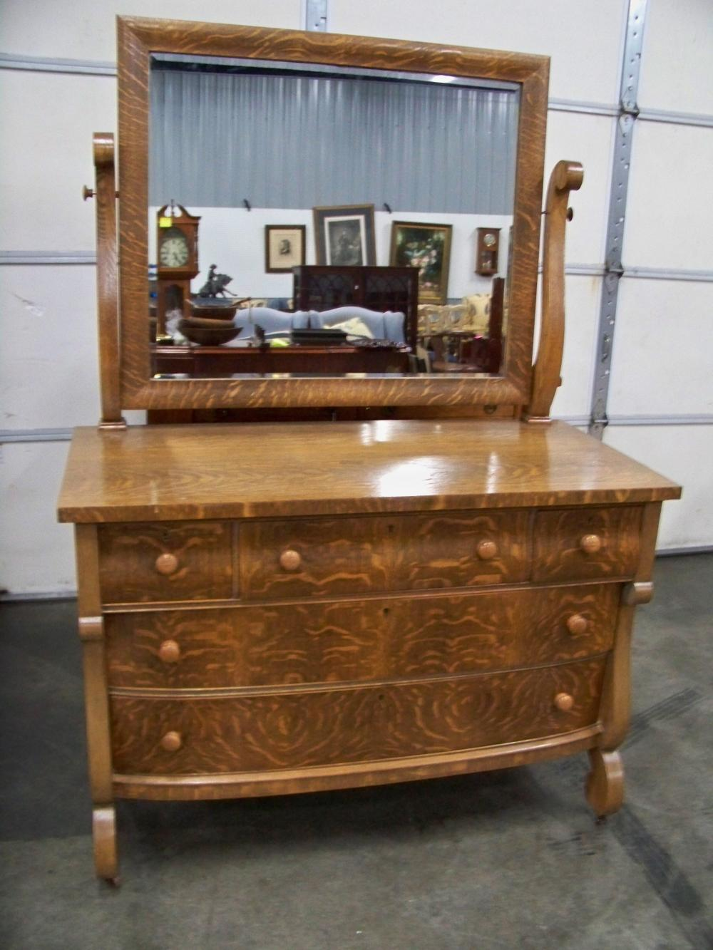 Antique Oak Five Drawer Chest with Mirror