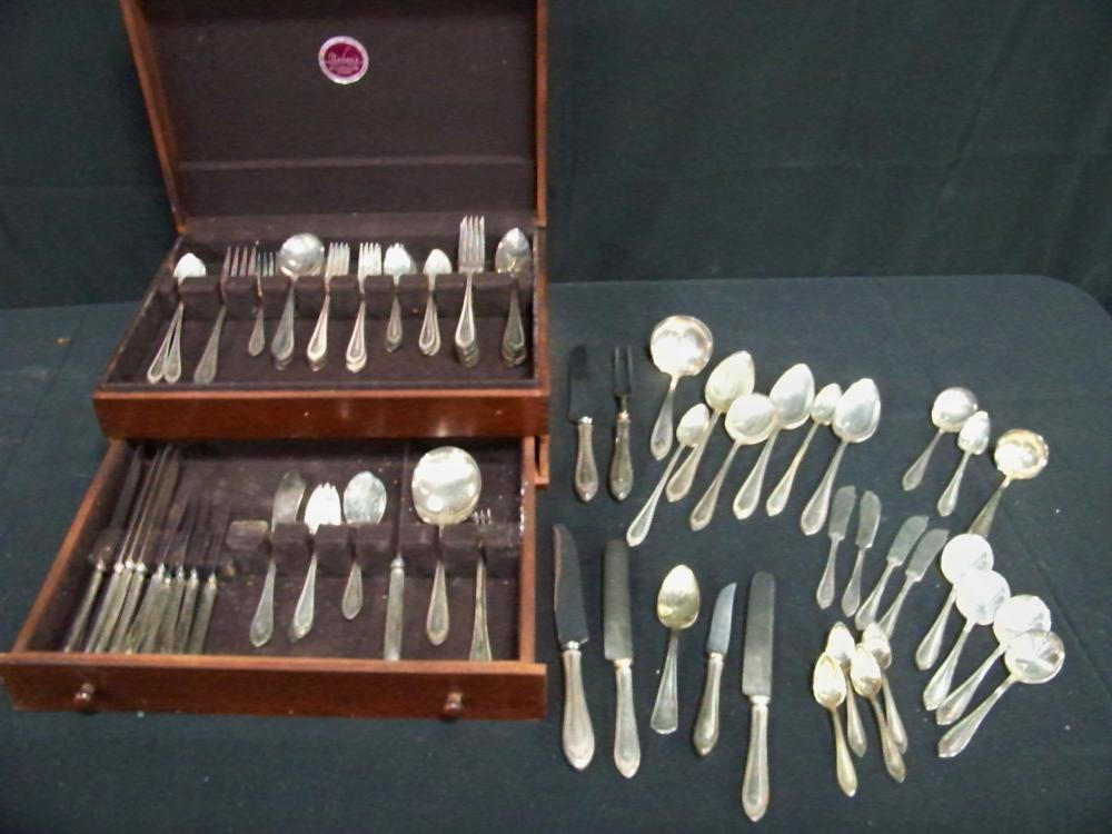 Set of Plated Flatware in Wooden Canteen