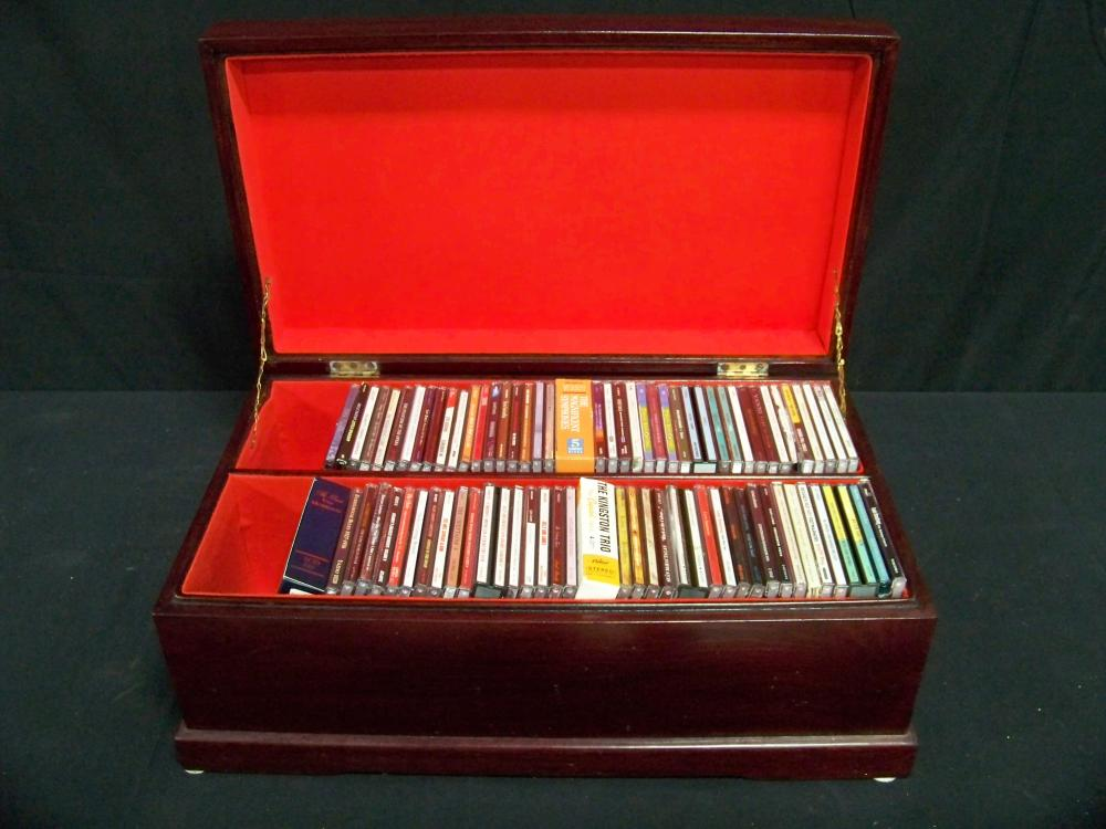 Collection of CD's in Asian Style Wooden Case