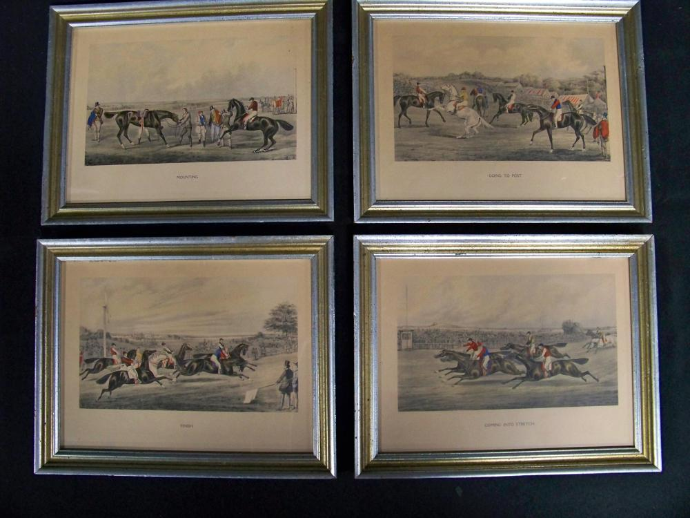 Set of Four Colored Lithographs of Steeplechase Horses and Riders