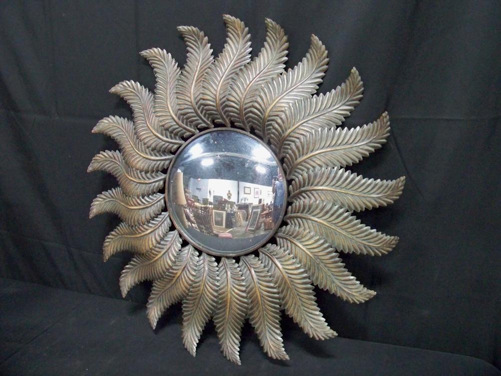 Contemporary Convex Mirror with Fern Leaf Decoration