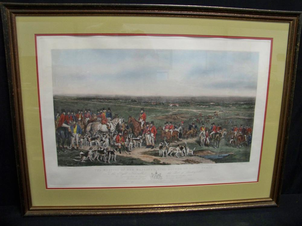 Antique Framed Colored Hunt Lithograph