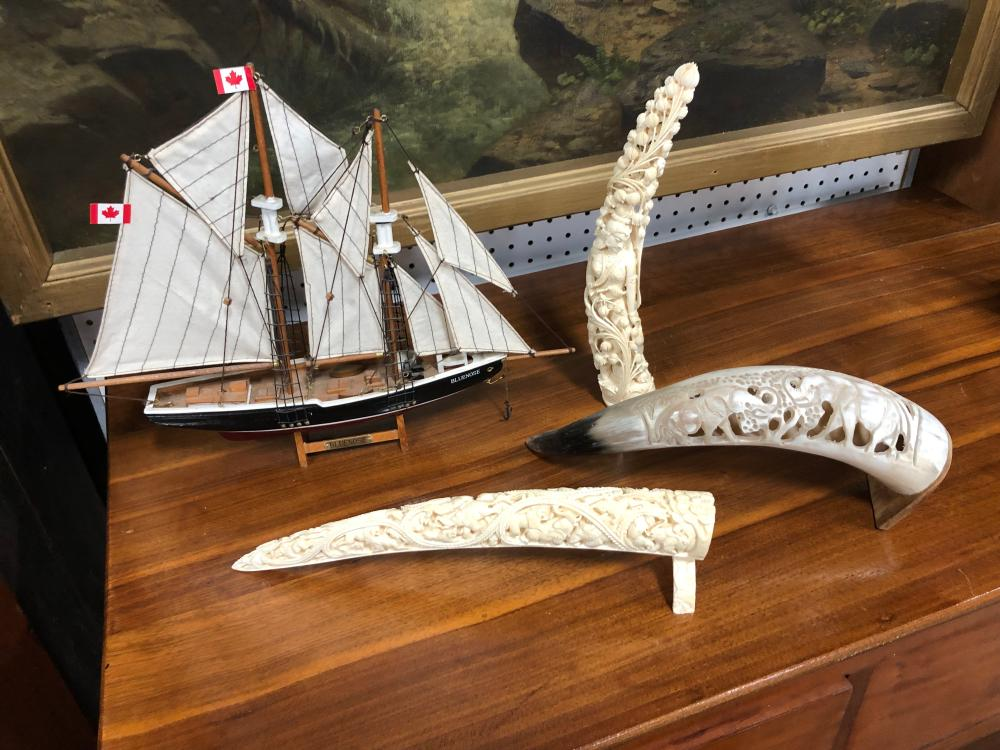Group of Three Intricate Items and a Clipper Ship