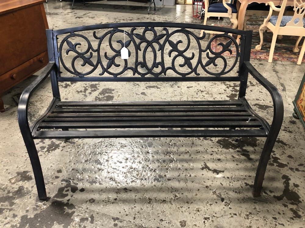 Black Painted Metal Garden Bench