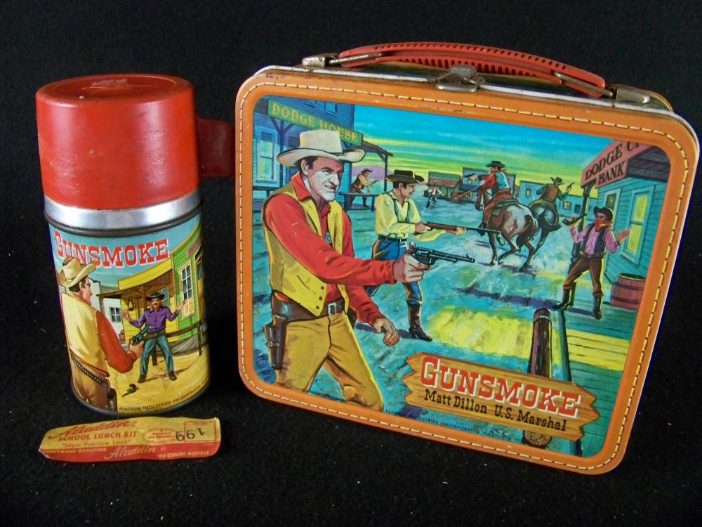 Aladdin 1959 Gunsmoke Lunchbox with Thermos
