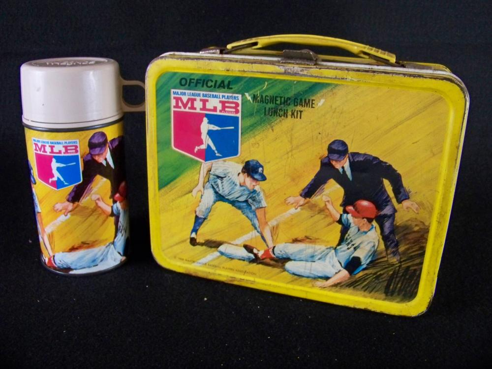 1968 MLB Magnetic Game Lunchbox with Thermos