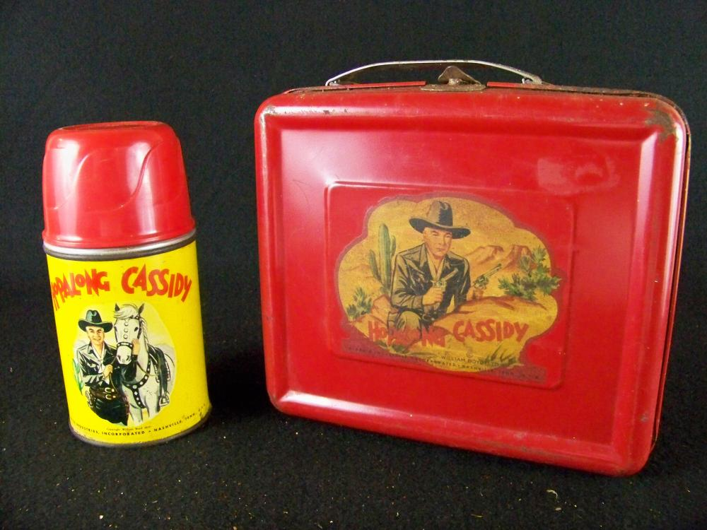 1950-51 Aladdin Red Hopalong Cassidy Lunchbox with Thermos