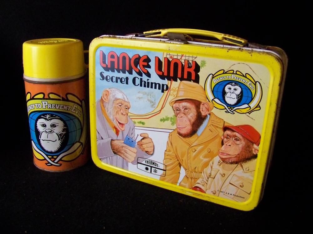 1971 Aladdin Lance Link Secret Chimp Lunchbox with Thermos