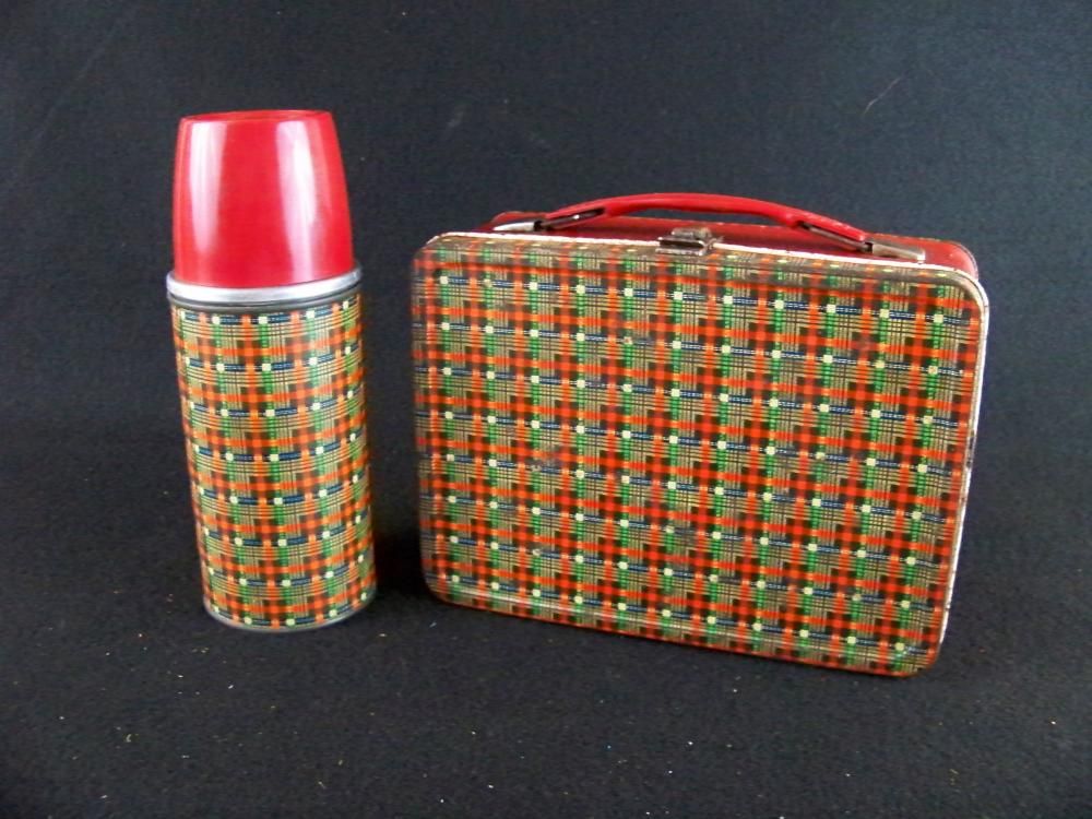 50's Red Plaid Lunchbox and Thermos