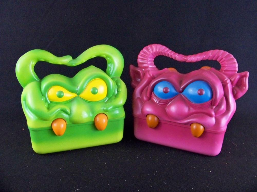 Two Rare My Monster Lunchboxes- Purple and Green