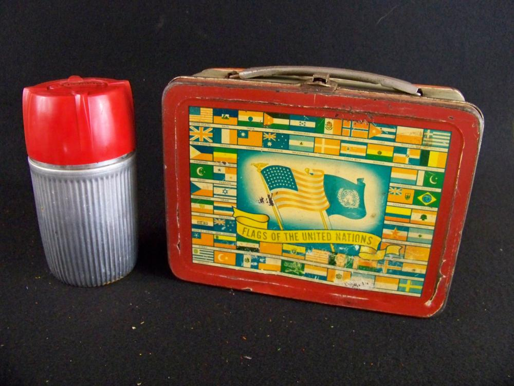 1954 Flags of the United Nations Lunchbox with Thermos