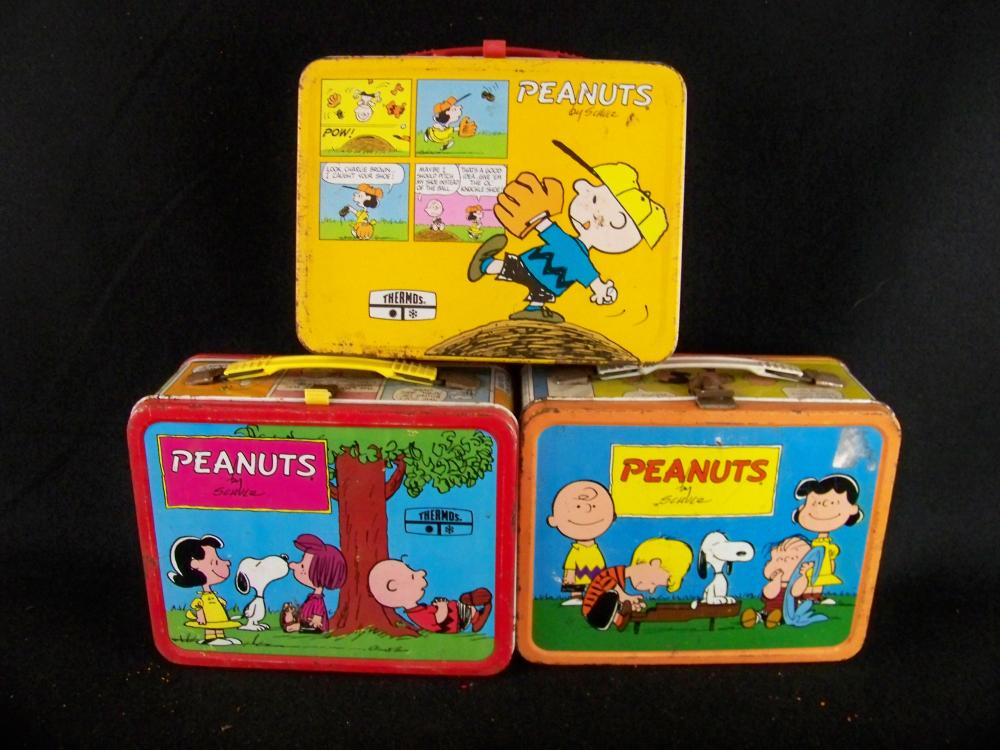 Group of Three Peanuts Lunchboxes with Eight Thermoses