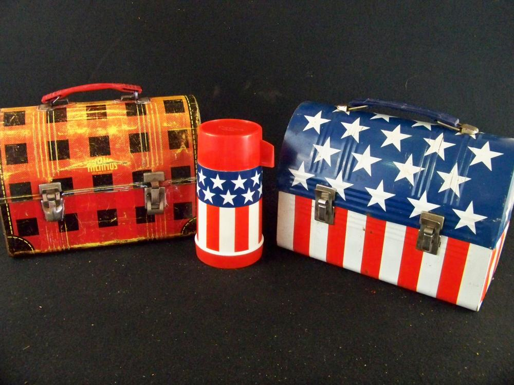 Domed Scottish Plaid and US Flag Lunchboxes with Thermos