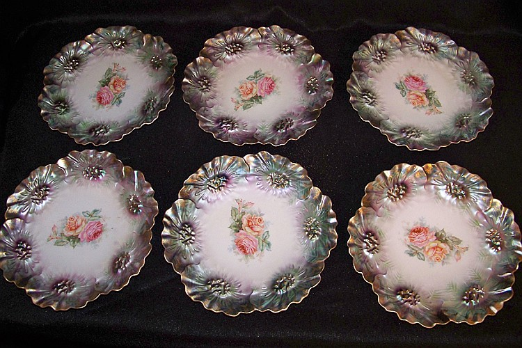 Set of Six RS Prussia Red Star Dessert Plates