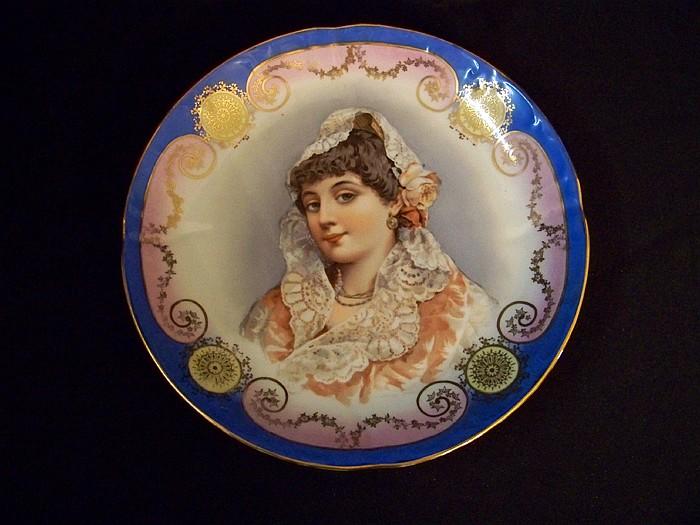 Bavarian Porcelain Handpainted Portrait Bowl
