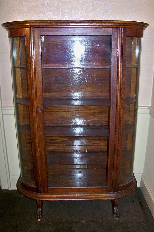 Victorian Oak China Cabinet with Curved Glass Sides and Animal Feet