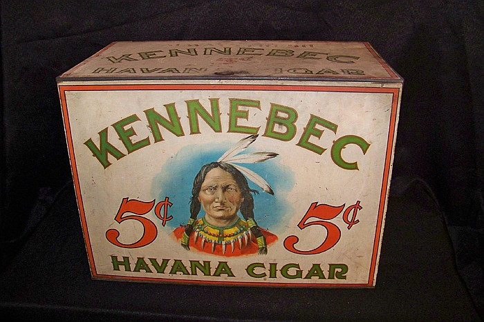 Very Large Tole Kennebec 5 cent Havana Cigar Store Bin with Hinged Top