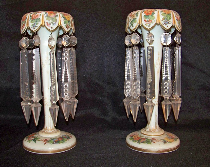 Pair of Porcelain Lustres with Heavy Cut Prisms
