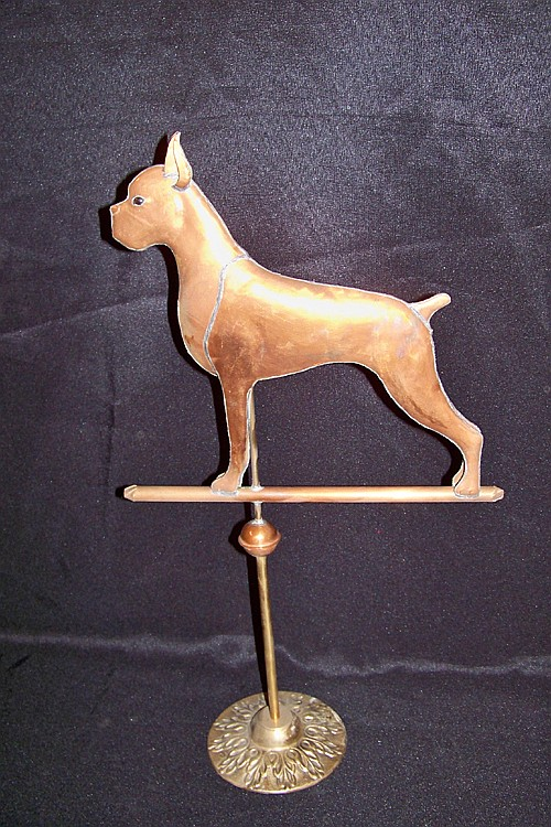 Copper Boxer Dog Weathervane on Stand