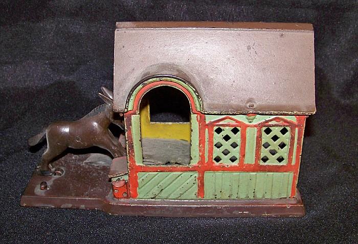 "Cast Iron Mechanical Bank ""Mule Entering the Barn"" or ""Malicious Donkey"""