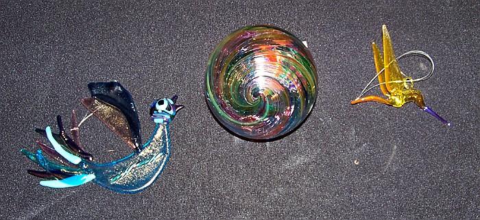 Three pcs. Of Blown Glass from Lexington Artique plus One Small Art Glass Lamp