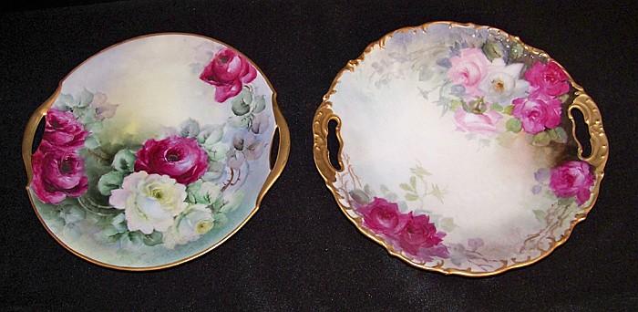 Two Handpainted Bavarian Cake Plates
