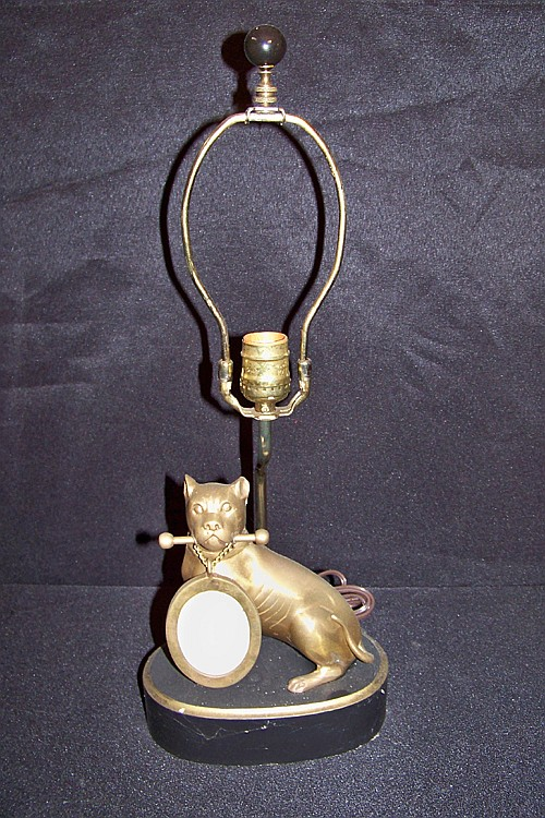 Unique Brass Lamp with Boxer Dog Holding Small Picture Frame