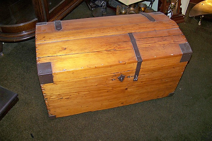 Early Pine Domed Trunk with Original Hardware
