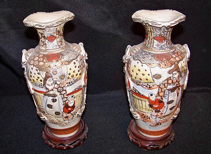 Pair of Japanese Style Vases on Wood Bases