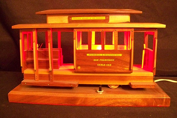 Wooden Cable Car Novelty Lamp