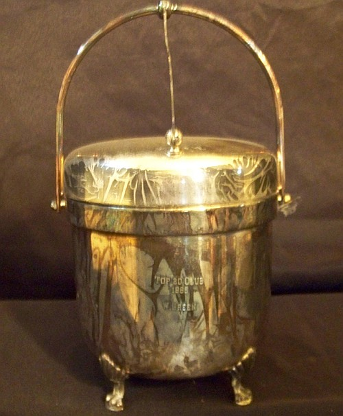 Silver Plated Ice Bucket with Bar Utensils in Lid plus Rogers Plated stand with Handle