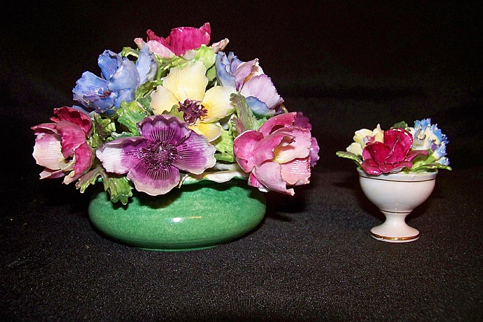 3 Pieces of Decorative Flowered Crown Staffordshire Pottery