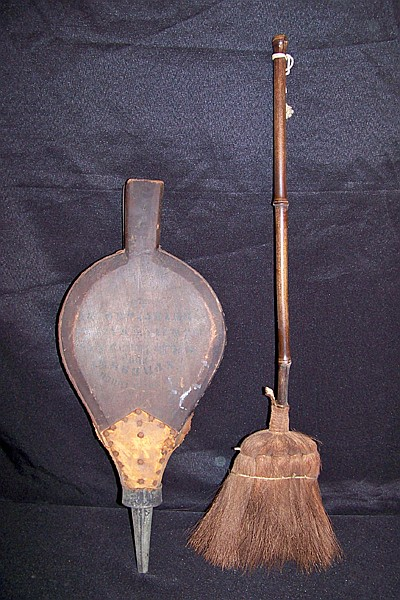 Old Fireplace Broom and Antique Bellows marked Belknap Hardware