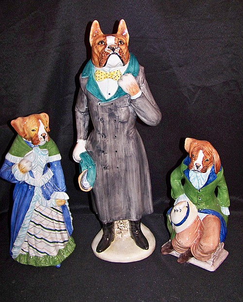 Set of 3 Ceramic Boxer Dog Figures