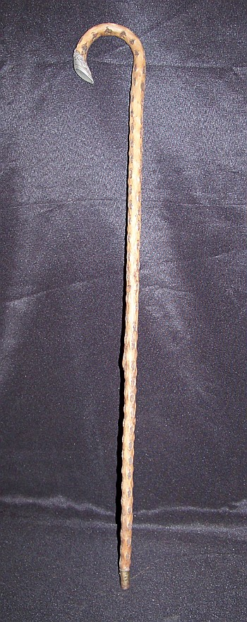 Ornate Wooden Cane with Shoe Handle