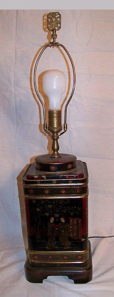 Oriental Tole Tea Cannister Lamp on Wood Base