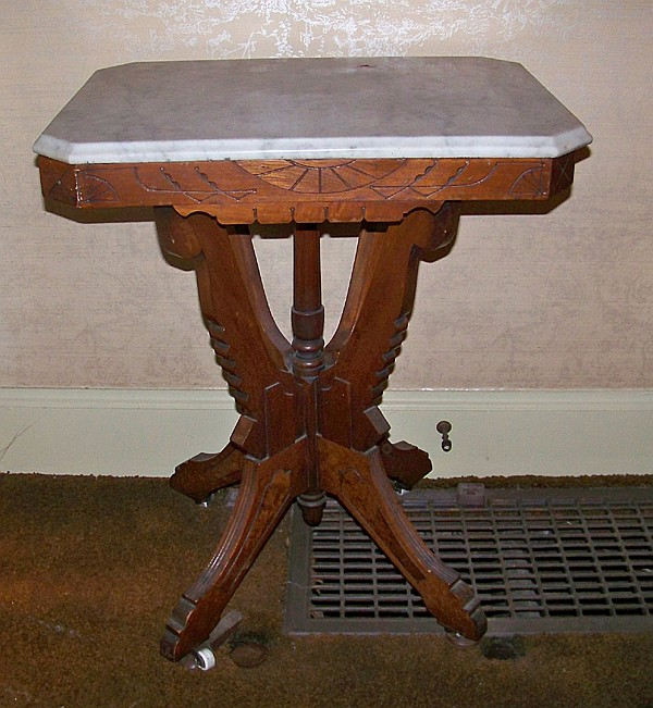 Victorian Walnut Table with White Beveled Marble Top