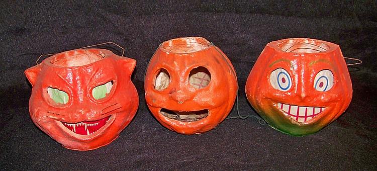 3 Vintage Paper Mache Jack o Lanterns