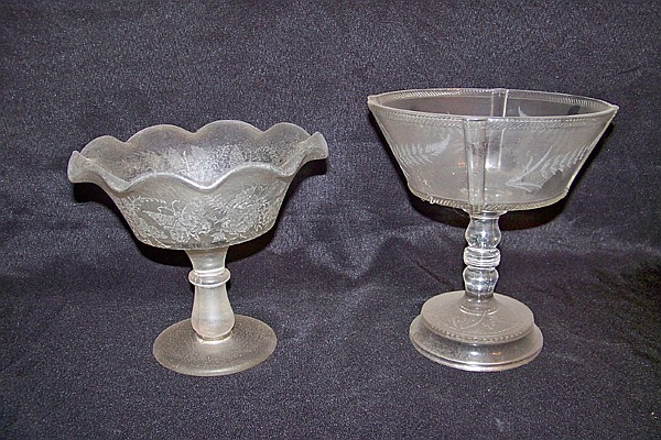 2 Glass Compotes with Etching