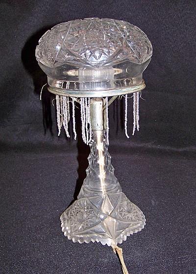 Cut Glass Lamp with Mushroom Top