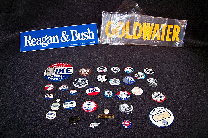 Misc. 32 Political Buttons with 2 Bumper Stickers and 2 Alfred E.Neuman Roosevelt Postcards