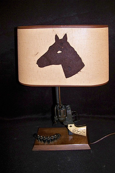 Pistol Lamp with Horse Shade