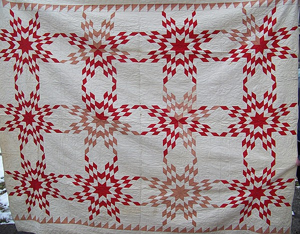 Hand Quilted Red Star Pattern Early Quilt